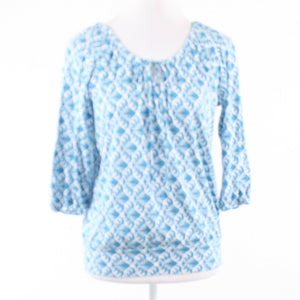 Blue white geometric cotton blend BANANA REPUBLIC 1/2 sleeve tunic blouse S