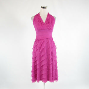 Fuchsia pink 100% silk TADASHI COLLECTION halter neck tiered dress 8-Newish