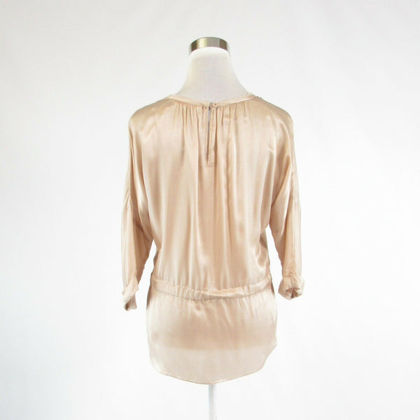 Beige gold satin REBECCA TAYLOR beaded trim 3/4 sleeve blouse 0