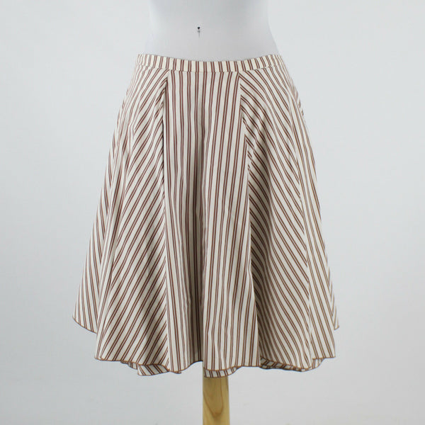 White brown striped cotton blend GUNEX A-line knee-length skirt 8