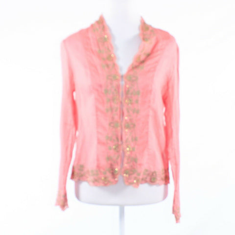 Salmon pink gold 100% cotton J.H. COLLECTIBLES long sleeve button down blouse M