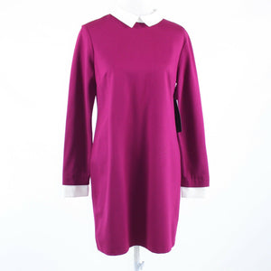 Fuchsia pink white stretch CYNTHIA STEFFE long sleeve shift dress 10 NWT $198.00-Newish