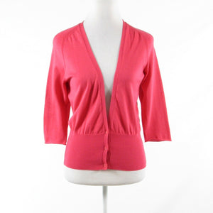 Pink red 100% cotton PIAZZA SEMPIONE 3/4 sleeve cardigan sweater IT40 6