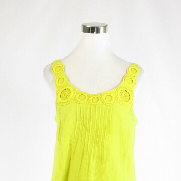 Bright yellow 100% cotton EDME & ESYLLTE embroidered sleeveless shift dress S-Newish