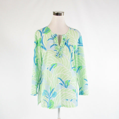 Light green white leaves 100% cotton J. MCLAUGHLIN 3/4 sleeve tunic blouse M