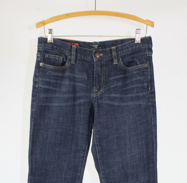 Medium rinse stretch cotton blend J. CREW hipslung bootcut jeans 8