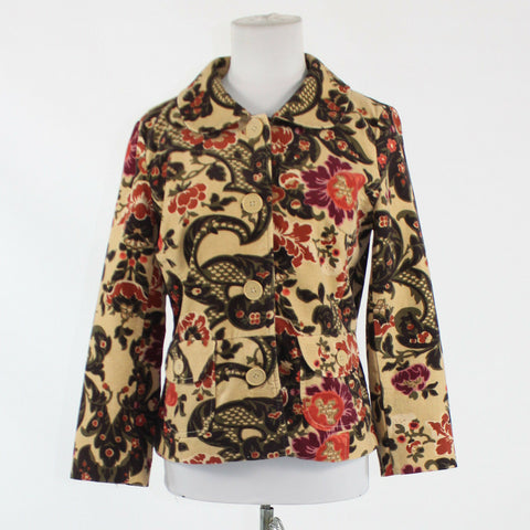 Beige brown maroon floral 100% cotton ATL STUDIO long sleeve blazer jacket 4-Newish