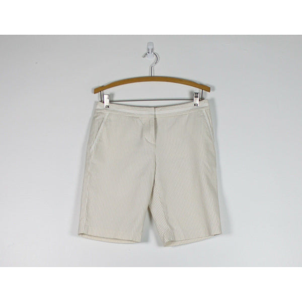 ANN TAYLOR white & beige striped 100% cotton straight leg shorts 4-Newish