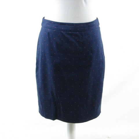 Navy blue pink polka dot cotton blend J. CREW The Pencil Skirt pencil skirt 4