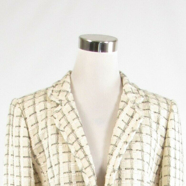 Ivory black textured LINDA ALLARD ELLEN TRACY 3/4 sleeve blazer jacket 10