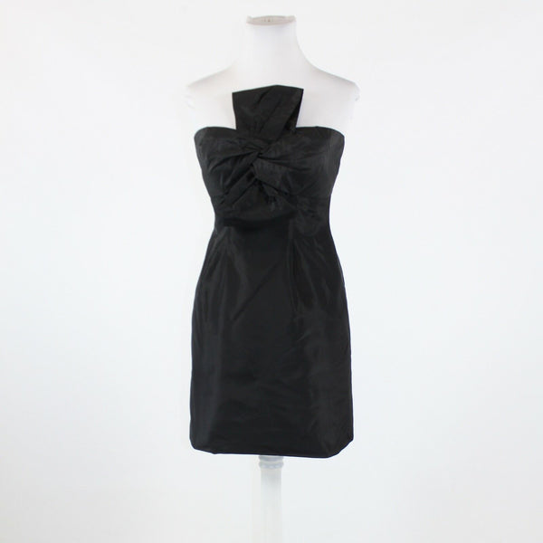Black 100% silk taffeta J. CREW strapless crumbcatcher above knee sheath dress 4