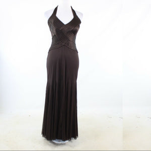Dark brown CACHE sheer overlay halter neck ball gown dress 2
