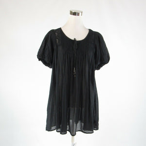 Black 100% cotton FREE PEOPLE beaded trim 1/2 sleeve tunic dress XS