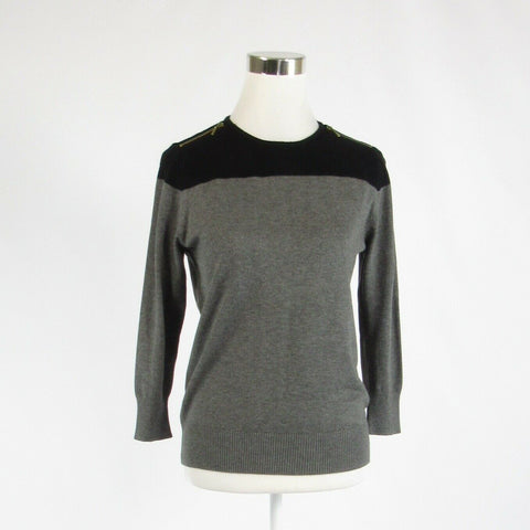 Gray black color block JOSEPH A. 3/4 sleeve crewneck sweater PM-Newish