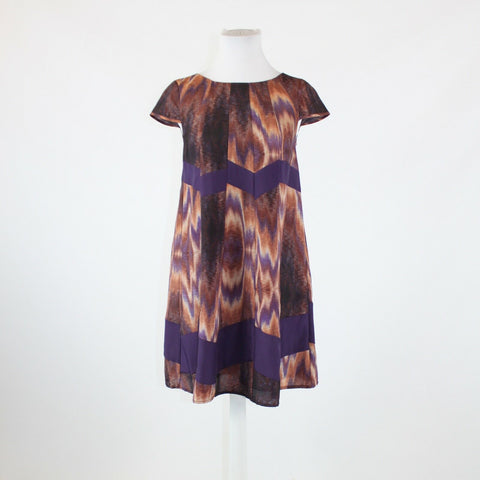 Purple brown geometric JESSICA SIMPSON cap sleeve shift dress XS