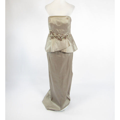 Metallic taupe KAY UNGER beaded trim strapless ball gown dress 8