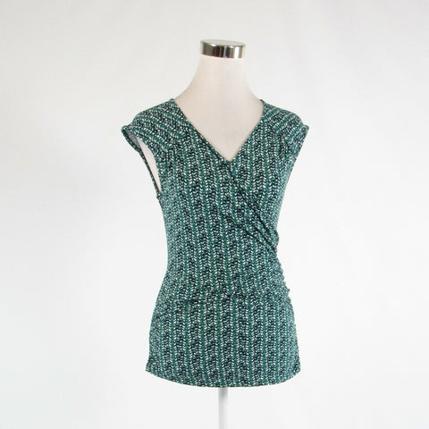 Dark green blue geometric BANANA REPUBLIC stretch sleeveless blouse S-Newish