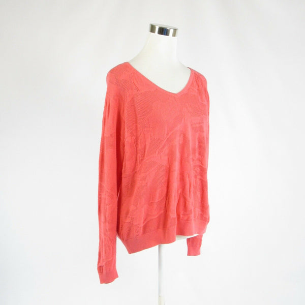 Pink pique cotton LANE BRYANT long sleeve V-neck sweater 14 / 16-Newish