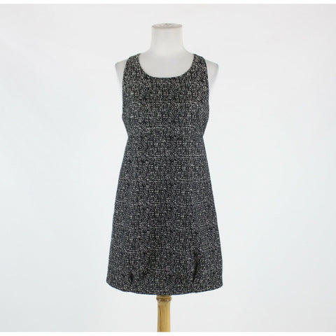 Black & white tweed BB DAKOTA sleeveless scoop neck above knee cocktail dress 6-Newish