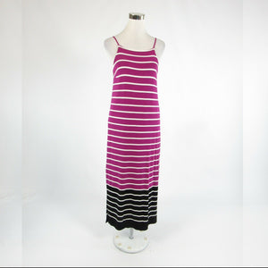 Orchid purple white striped VINCE CAMUTO stretch spaghetti strap maxi dress XS-Newish