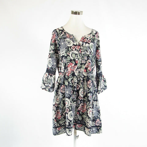 Navy blue white floral print 100% cotton ELLA MOON bell sleeve tunic dress M-Newish