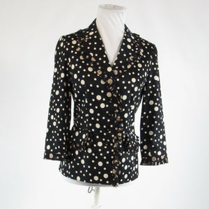 Black ivory polka dot 100% cotton RICKIE FREEMAN FOR TERI JON blazer jacket 4