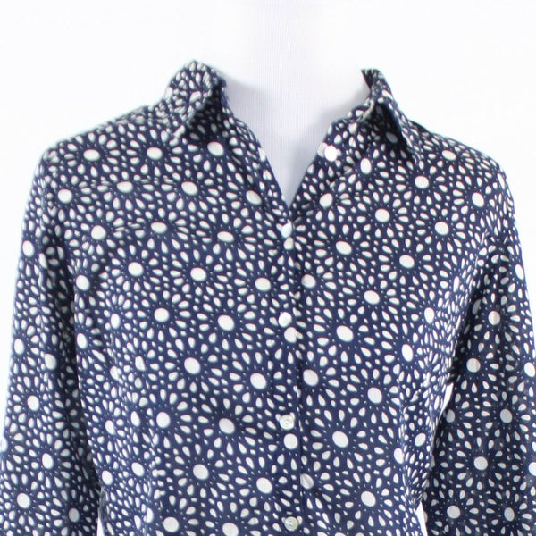 Navy blue white geometric MONTEGO long sleeve button down blouse 38