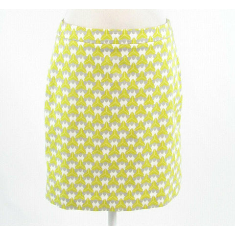 White green geometric cotton blend BANANA REPUBLIC Milly A-line skirt 6