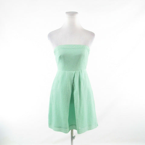 Light green seersucker silk blend J. CREW strapless A-line dress 2P