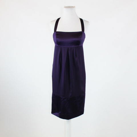 Eggplant purple silk blend ANTONIO MELANI thin strap satin trim shift dress 2