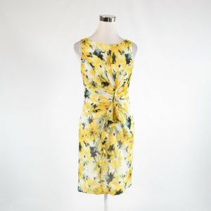 Yellow white floral print 100% silk CARMEN MARC VALVO sleeveless sheath dress 4-Newish