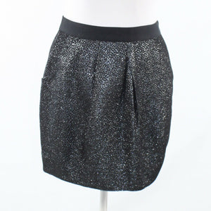 Charcoal gray silver cheetah ANTHROPOLOGIE LEIFSDOTTIR shimmery pencil skirt 4