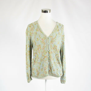 Light blue green space dyed F/R/E/N/C/H/ /R/A/G/S/ 3/4 sleeve cardigan sweater 3-Newish