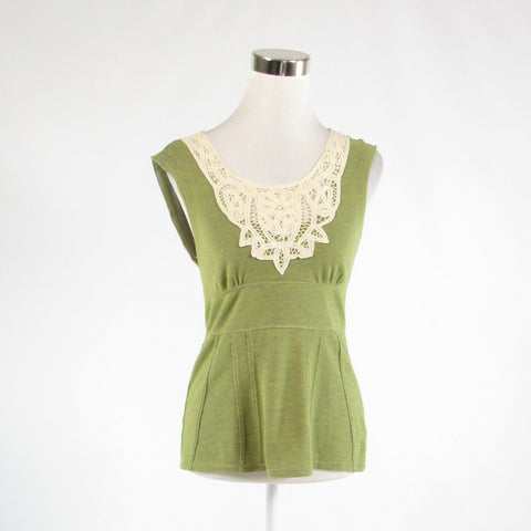 Avocado green ivory pique FREE PEOPLE stretch sleeveless tank top blouse M