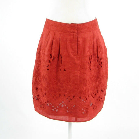 Orange red eyelet BARASCHI embroidered trim A-line skirt 6