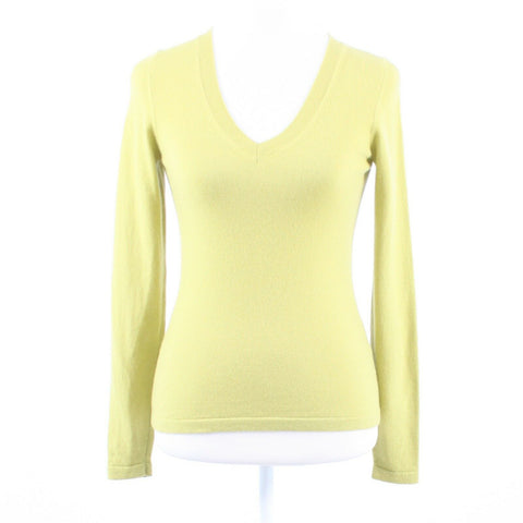 Light olive green 100% cashmere ESCADA long sleeve V-neck sweater XS