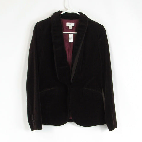 Brown velvet 100% cotton ANN TAYLOR LOFT blazer jacket 2