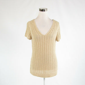 Light beige 100% cotton ANN TAYLOR LOFT short sleeve V-neck sweater L