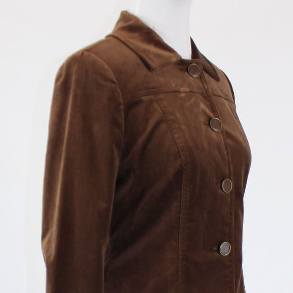 Brown stretch velvet DAVID MEISTER long sleeve button down jacket 6
