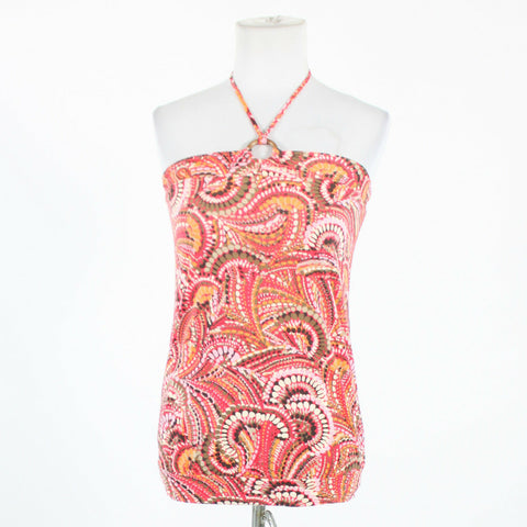 Pink gray & white geometric 100% cotton GAP spaghetti strap halter blouse S-Newish
