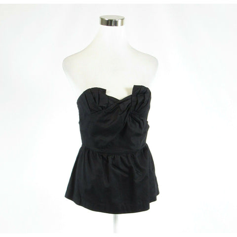 Black 100% cotton ODILLE strapless peplum blouse 6-Newish