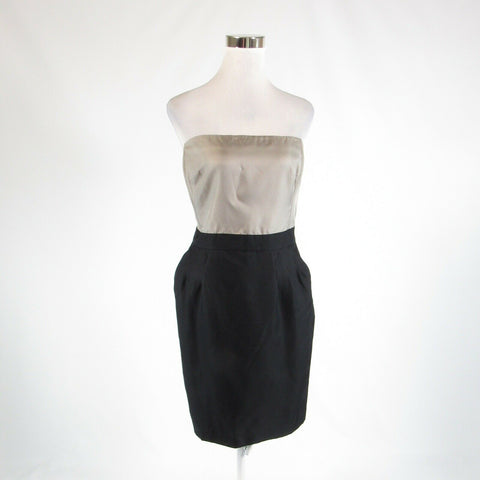 Black taupe color block satin BANANA REPUBLIC sleeveless sheath dress 14