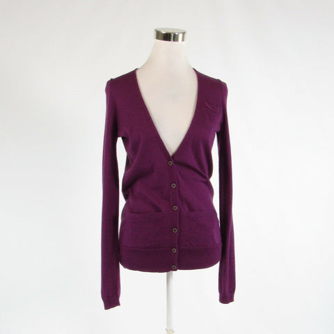 Eggplant purple WALLACE long sleeve cardigan sweater S-Newish