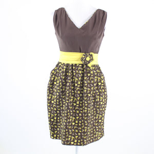 Brown yellow geometric BARASCHI sleeveless sheath dress 4