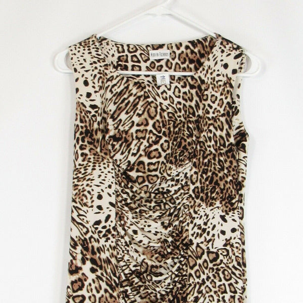 Light beige black cheetah MARVIN RICHARDS stretch bodycon dress 10