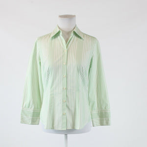 White green striped 100% cotton ANN TAYLOR LOFT 3/4 sleeve button down blouse 4