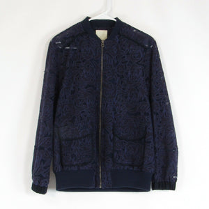 Dark purple blue floral lace ANTHROPOLOGIE ELEVENSES jacket XS