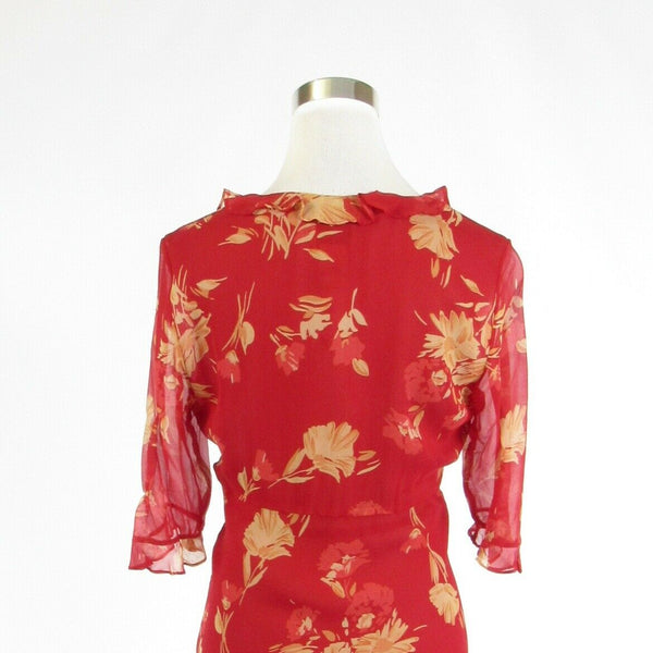 Red floral print satin ICE 3/4 sleeve sheath dress 10P-Newish