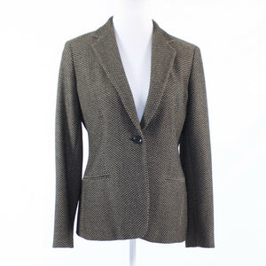 Brown beige basket weave print MAXMARA long sleeve blazer jacket 6 40