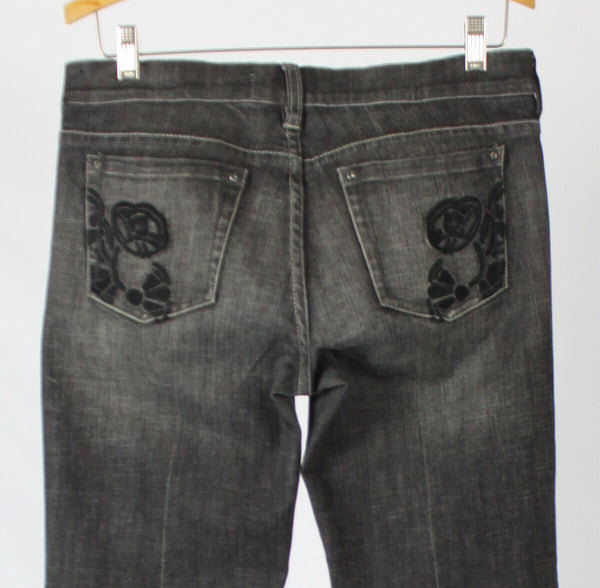 Gray denim WHITE HOUSE BLACK MARKET flare leg low-rise stretch jeans 4-Newish
